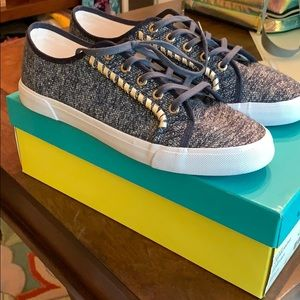 Jack Rogers Carter Textile Tennis Shoe blue Gold